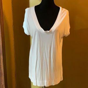 Soft white tunic length tee shirt